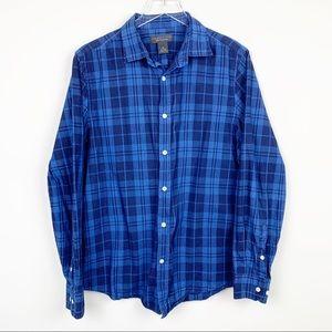Nwt $80 Club Room Men Regular Fit Blue Check Plaid Casual Dress Shirt 16 32//33 L